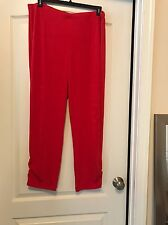NWT Chico's Travelers Chinese Red Rushed Hem Sz 16 Knit Pants!!