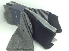 Men's TOMMY HILFIGER Gray Black STARFISH 73% COTTON Dress Socks. 4 Pack.$36 MSRP