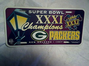 1997 GREEN BAY PACKERS SUPER BOWL XXXI CHAMPIONS LICENSE PLATE,new orleans,nfl