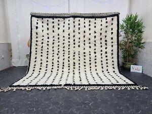 "Moroccan Handmade Beni Ourain Rug 7'8""x8' Berber Dotted White Black Wool Rug"