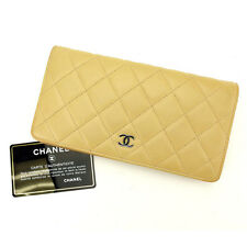 Chanel Wallet Purse Long Wallet Matrasse Beige Silver Woman Authentic Used S413