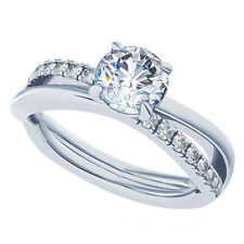 14K Engagement Ring Real Solid White Gold 1.50 CT Infinity Round Cut Diamond