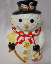 GIBSON House Wares Design Christmas Snowman Hat Scarf Mittens Cookie Jar Retired