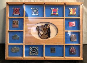 Lot 12 1984-2002 Breeders Cup Metal Lapel Pin Pins in Handmade Wood Display Case