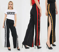 New Women Ladies Wide Leg Stripe Split Popper Side Contrast Button Trousers 8-12