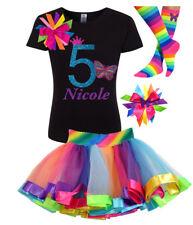 5th Birthday Girl Butterfly Shirt Rainbow Tutu Outfit Set Socks Hair Bow Name 5