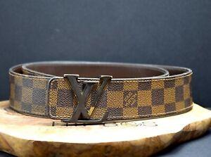 Louis Vuitton Authentic LV INITIALES Damier Ebene Mens Belt Size 36