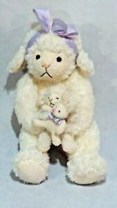 Russ Berrie LAMBKINS Mother Sheep & Baby Lamb Holding Bunnie