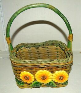"Brown Green Basket 3 plastic Daisies Sunflowers Leaves 7""w x 4.75"" t x5"" d"