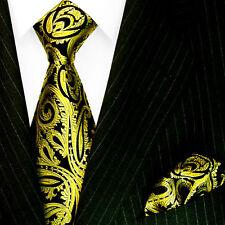 8444801 LORENZO CANA Italian Silk Neck Tie + Hanky Set 100% Silk Baroque Gold
