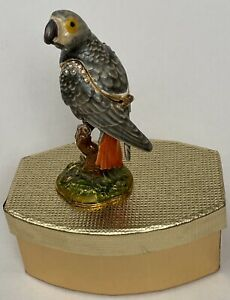 Parrot Bird Hinged Enamel Trinket Box Jeweled with Crystals