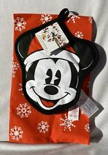 Disney Mickey Mouse Kitchen Pot Holder & Towel Set Christmas Holiday Decor NWT