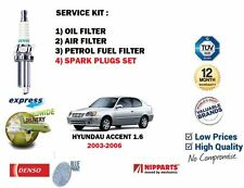 FOR HYUNDAI ACCENT 1.6i 16v 2003-2006 OIL AIR FUEL 3 FILTER + SPARK PLUGS SET