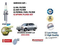 Pour Hyundai Accent 1.6i 16v 2003-2006 Air Huile Carburant 3 + Filtre Bougies