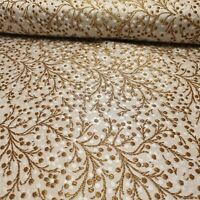 """Indian Gold Vintage Floral Metallic Print Faux Brocade Fabric 44/"""" Wide"""
