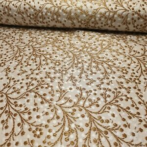 Ivory Gold Brocade Floral Jacquard Print Indian Faux Silk Banarasi Fabric 44""