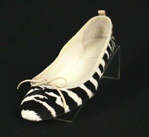 GUCCI Zebra Print Striped Calf Hair Ballet Flats 38.5