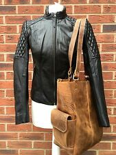 Ladies Quality Leather Biker Jacket In Black Ex Chainstore Size 14 RRP £300
