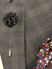 Black Bead and Metal Lapel Flower Lapel Pin, Wedding Boutonniere Brooch Pin Gift