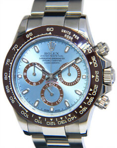 Rolex Daytona Chronograph Steel Blue Dial Brown Ceramic Bezel Mens Watch  116520