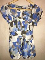 Ladies Mixed Blue Pattern Square Neckline Tunic Top Size 14 MEXX<NH7101