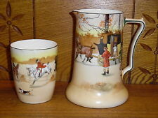 "Royal Doulton Porcelan 6 1/8"" Pitcher & Tumbler - Coaching Days - E3804"