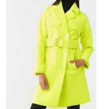 New w Tag Forever 21 Double Breasted Woven Coat Color Neon Yellow Size Medium