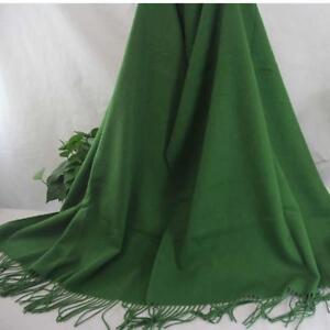 Vintage Women Man Solid Long Cashmere Wool Blend Soft Warm Wrap Shawl Scarf 067