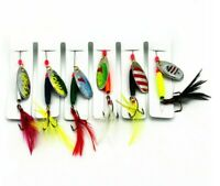 6pcs Set Fishing Spinners Freshwater Spinner Lures Trout Feather Hooks