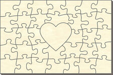 Blanko Holz-Puzzle Rechteck mit Herz, 35 Teile, 60x40 cm, zum Selbst Bemalen
