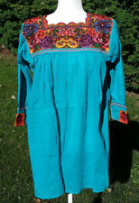 Maya Mexican Blouse Top Shirt Embroidered Cross Stitch Chiapas Medium Blue 203
