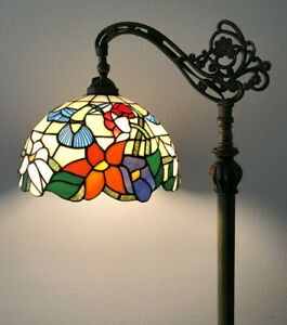 Enjoy Tiffany Style Floor Lamp Hummingbird Stained Glass Antique Vintage H62.5""