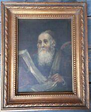 Fine Small 19th Century Judaic Oil On Canvas Portrait Of A Rabbi
