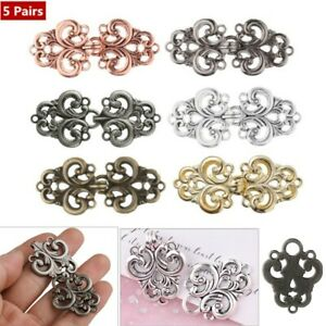 5 Pairs New Womens Cape Shawl Cloak Clips Clasp Collar Swirl Flower Fastener