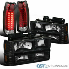 Fit 94-98 GMC C10 1500 Black Headlights+Bumper Corner Lamps+Red/Clear LED Tail