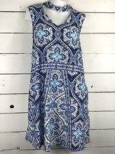 AGB Womens Dress Halter Neck Blue Paisely Sleeveless Stretch Size Large