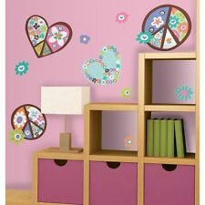 FLORAL HEARTS & PEACE SIGNS WALL DECALS New Giant Girls Stickers Retro Decor