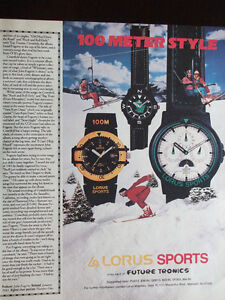 1989 Lorus Sport Watches 100 Meter Style Advertisement Skiers