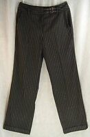 SOFT Loose Fit CLASSIC Rise Gray Black PINSTRIPED Cuffed LARRY LEVINE Pants! 8