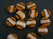 Orange Black & White Stripe Coin Disk Lamp Beads 12mm 20pc