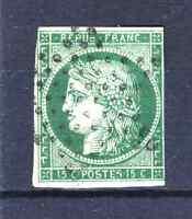 "FRANCE YVERT 2b SCOTT 2 "" CERES 15c DARK GREEN 1850 "" USED F MUST SEE  R041"