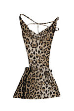 Sexy Leopard col V profond Bretelles dos nu club Nuit Mini-robe Lingerie D2E6