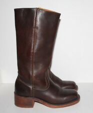 "Women's FRYE 15"" High Campus Brown Leather Square Toe Boots Size 7 M"