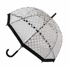 "SOAKE Automatic Clear Dome Quality 32"" Umbrella - White Polka Dot Brolly Unisex"