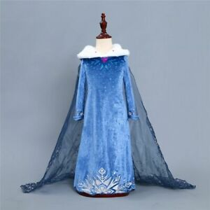Birthday Party Elsa Dress For Girls Snowflake Velvet Long Sleeve Dress