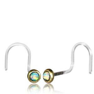 1 TRIBAL BIOPLAST 20G BRASS NOSE STUD NOSE RING EAR WHITE OPAL STONE NOSE PIN