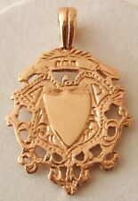 GENUINE 9K 9ct  SOLID ROSE Gold  SHIELD FOB  Pendant  DOUBLE SIDED