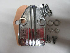 Chrome SB Chevy Finned Fuel Pump Block Off Plate Kit  283 307 327 350 V-8