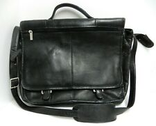 "Wilsons Leather Black Laptop Messenger Briefcase Shoulder Bag 13"" Computer"