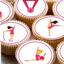 24 Edible cake toppers decorations Pink Gymnastics cartoon gymnast